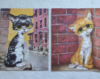 "Two Vintage ""Pity Kitty"" Large Prints by Gig / Keane-like Cat art / Big Eye / 1960s vintage 19"" x 15"" / Girard Goodenow P-630"