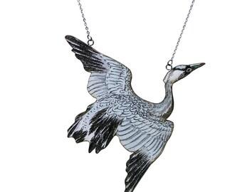 Crane necklace, Stork necklace, bird necklace, crane, stork, bird jewelry, flying bird jewelry, bird pendant, bird jewlelry
