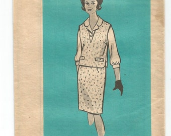 9483 Marian Martin Sewing Pattern Top & Skirt Size 16 1/2 37B Vintage 1960s Mail Order
