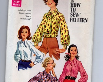 8299 Simplicity Sewing Pattern Front Button Blouse & Ascot Size 14 36B Vintage 1960s