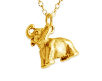 3D Happy Dumbo Elephant Animal Symbol of Good Fortune Charm Pendant Necklace #14K Gold Plated over 925 Sterling Silver #Azaggi N0463G