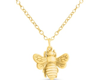 Queen Bee Bumblebee Flying Insect Bug Charm Pendant Necklace #14K Gold Plated over 925 Sterling Silver #Azaggi N0878G