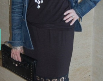 Fall Sale,Tall, extra long maxi skirt, Ladies women's, trendy, crocheted lace trim black, maxi skirt, long, boho, Small, Medium, Large, knit