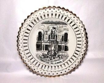 Ribbon Plate, Carmarthen Wales, War Memorial, Welsh Souvenir, Vintage Plate, Carmarthenshire, Boer War, Wales Souvenir, British Soldier