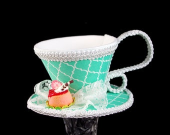 Teal and White Quatrefoil with Strawberry Dessert Tea Cup Fascinator Hat, Alice in Wonderland Mad Hatter Tea Party, Derby Hat
