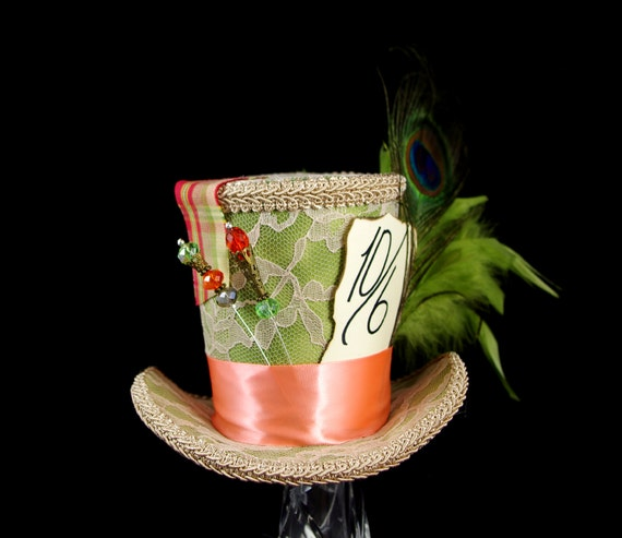 Beige Lace over Green with a Light Orange Band Large Mad Hatter Mini Top Hat Fascinator, Alice in Wonderland Mad Hatter Tea Party, Derby Hat