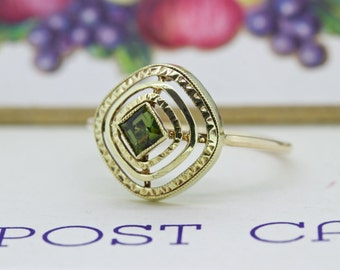 SALE Antique Stacking Ring | Green Tourmaline Ring | Dainty Gemstone Ring | Yellow Gold Stick Pin Ring | Unique Engagement Ring | Size 6 1/3