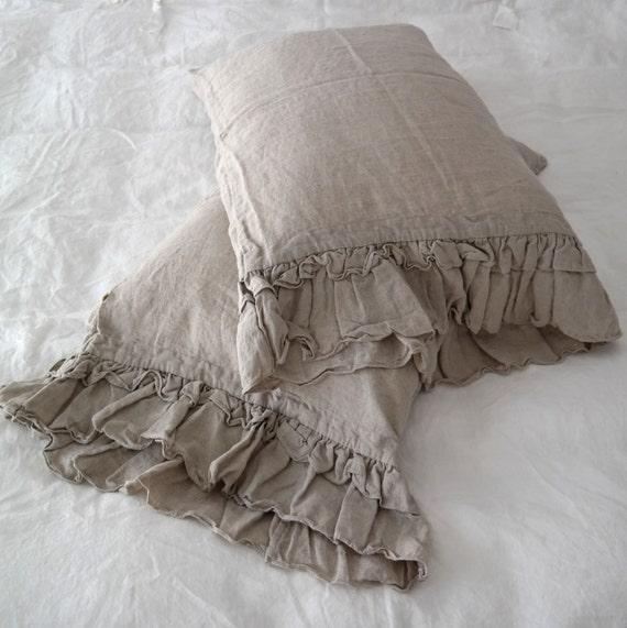 Linen Pillowcase With Ruffles Standard Queen King By Mooshop