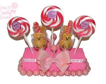 Baby Bear Girl Baby Shower Rectangle Lollipop Centerpiece, Baby Girl, Baby Shower, its a girl, lollipop centerpiece, candy centerpiece