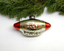 Rare Airship Soviet Christmas tree decoration  Antique Glass Christmas Ornaments Air Balloon  Collectible USSR Dirigible  Soviet Union 1950s