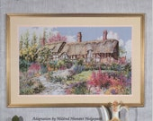 Miss Hathaway's Garden Counted Cross Stitch Pattern based on the Art of Marty Bell, Pegasus Pub, Historic English Cottage, Mildred Hedgepath