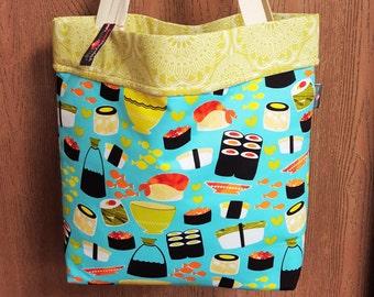 Large tote bag, Fabric totes, Market bag, Sushi