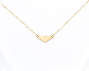 Gold Filled Modern Triangle Necklace   Gold Filled Triangle Necklace   Gold Triangle Necklace   Modern Triangle Necklace