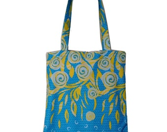African Print Bohemian Tote, Blue Yellow Floral Bag, Teachers gift idea, Ankara Tote Bag, African Fashion, Shopping bag, Detola and Geek