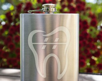 Orthodontic Tooth with Braces Customizable Etched Stainless Steel Flask Barware Gift