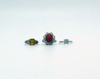 Lot of Vintage  Silver-Tone Costume Rings with Crystal Stones