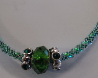 NECKLACE with EMERALD colored STONES