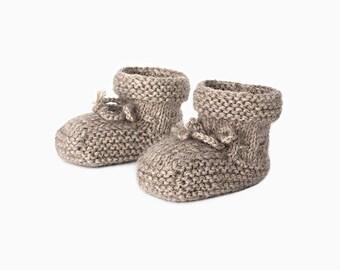Alpaca Baby Booties - Sand