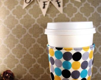 Fabric Coffee Cozy / Big Ol' Polka Dots Coffee Cozy / Polka Dot Coffee Cozy / Coffee Cozy / Tea Cozy
