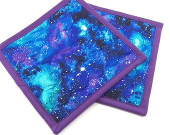 Galaxy Pot Holders, Cotton Hot Pads - Set of 2 Cosmos Potholders in Blue, Purple and Green - 8 Inch Pot Holders