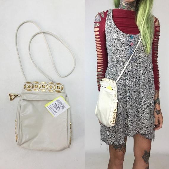 80's White Leather Studded Purse - White Leather Gold Gemstone GLAM Bag - White Crossbody Hipster Vtg Shoulder Bag Triangle Soft Leather