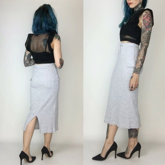 90s Sporty Ribbed High Waist Midi Skirt Small - Tight Midi Skirt Sexy Basic Gray Midi Skirt - High Waist Cargo Skirt Heather Gray Sporty
