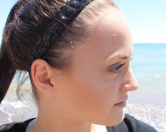 Black Headband Adult - Womens Headbands for Women - Womens Sport Glitter Headband - Fashion Headbands for Girls