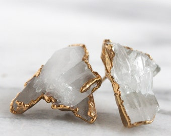 quartz point earrings / quartz studs / druzy earrings / raw stone earrings / druzy studs / crystal studs / drusy studs / drusy earrings/boho