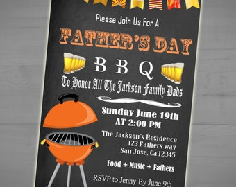Father's Day Backyard BBQ Chalkboard Invite - Cookout Picnic Party Invitation -  Beer - Grill - Printable or Printed - 5x7