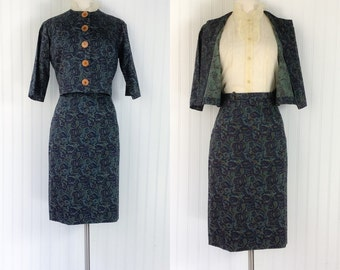 cotton batik paisley ethnic print two piece skirt cropped jacket set / vintage 1950s pinup / green navy brown