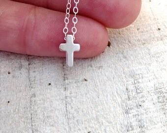 Tiny Silver Cross Necklace, Gold Filled Necklace, Tiny Gold Cross Necklace, Dainty Light Necklace, Small Dainty Necklace, Easter Necklace
