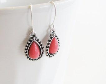 Pink Teardrop Pendant Earrings