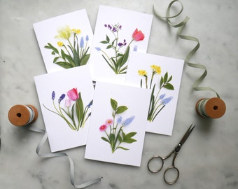 Spring garden flowers card set ~ note cards ~stationery set ~ daffodils ~ hyacinth ~ tulips