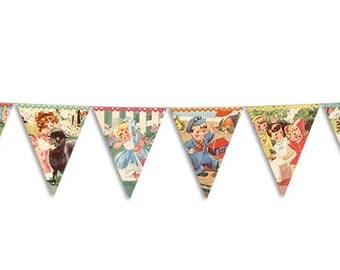 Printable nursery bunting / bunting printable / vintage storybook digital bunting flags / printable banner flags / party bunting / pennants