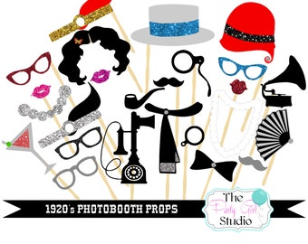 25pc * 1920's Themed Wedding Photo Booth Props - DIGITAL FILE