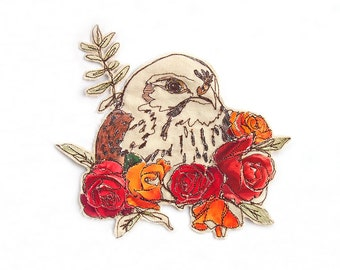 Kestrel floral Embroidered Sew-on Patch
