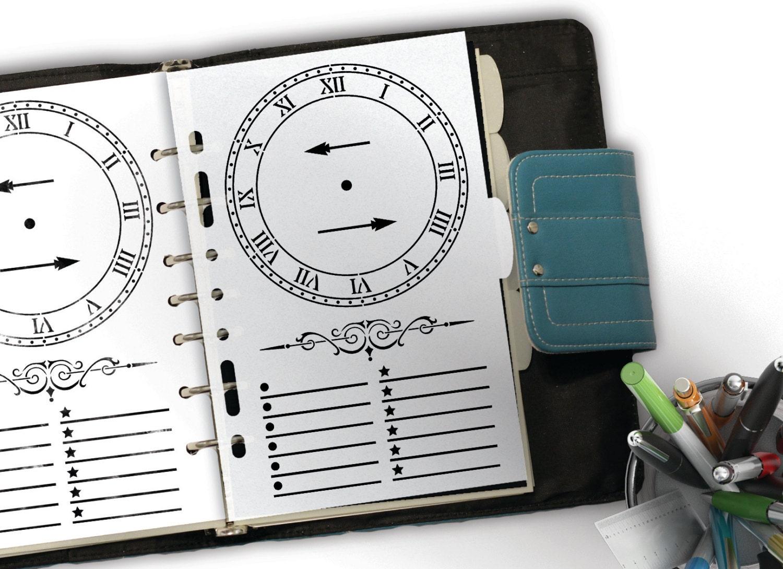 Timely Bullet Journal Clock & Planner Stencil -- A5/Half