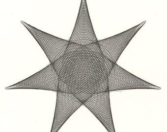 Geometric Artwork, Minimal Black Star Pen & Ink Original Ink Drawing, Geometric Abstract artwork, 7 Point Star Line Drawing, 12 x 12