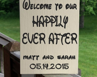 Disney Wedding, Custom Wedding Sign, Disney Wedding Sign, Happily Ever After, Wedding Date Sign, Custom Disney Sign, Rustic Wedding Sign