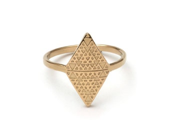 Tri Recursion Silver or Gold Sacred Geometry Ring