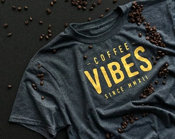 Coffee Vibes Tee (Heather Charcoal Gray) - short sleeve tee - t-shirt for men - men's apparel - men's clothing