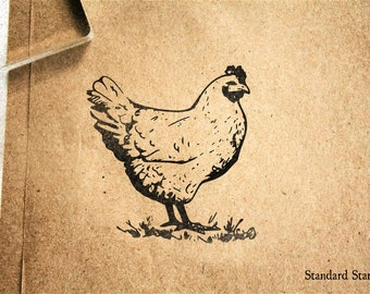 Classic Chicken Rubber Stamp - 2 x 2 inches