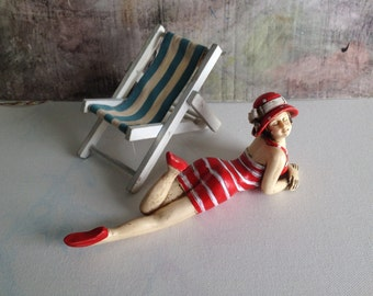 sand bathing...:)rare vintage figurine,girl in swimsuit,sunbathing girl,girl on the beach,flapper girl,pinup girl,girl in polka dot hat