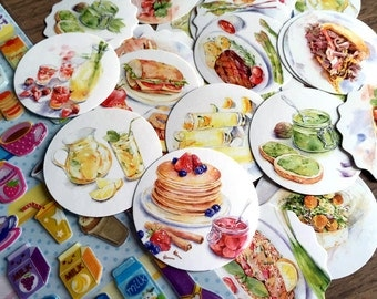 40 FOOD stickers food label yummy food dinner main course Dessert tea Time cooking planner sticker food party cooking label recipes sticker