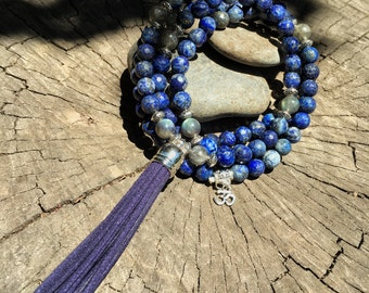 LAPIS LAZULI & LABRADORITE Mala Beads with Suede Tassel   108 Bead Crystal Mala Yoga Necklace   Om Meditation Beads by Mayan Rose MayanRose