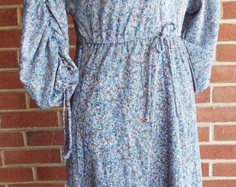 Vintage Short Sleeve Floral Print Dress
