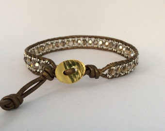 WRAP  BRACELET, Single Wrap Bracelet,  Beaded Wrap Bracelet, Swarovski Crystal Bracelet