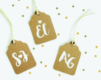 Custom Monogram Kraft Scalloped Swing Tags for Wedding Favours with String included 10 Pack | 25 Pack | 50 Pack and 100 Pack Available.