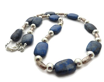 Lapis Lazuli Necklace, Blue Beaded Necklace, Royal Blue Necklace, Navy Blue Stone Necklace, Cobalt Necklace, Blue and Silver Necklace