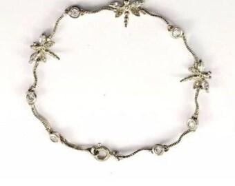 Sterling Silver Vintage Bracelet Dragonfly Crystal 925 #718
